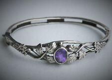 Mystery R&CO SignedSterling Silver Purple Stone Grape Vine Hinge Bangle Bracelet