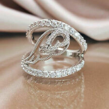 925 SILVER FILLED DOUBLE HOOP RING WITH WHITE TOPAZ FEATHER DESIGN SIZE M
