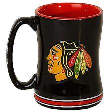 Chicago Blackhawks Coffee Mug Relief Sculpted Team Color Logo 14 oz NHL Black