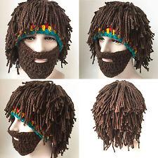 Funny Hallow Hat Knitting Beard Beanie Mustache Mask Face Winter Warmer Ski Cap