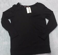 Womens Supre Size M/12 Long Sleeve Waffle Knit Jumper - Black - BNWT