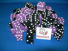 NEW 24 ASSORTED OPAQUE DICE 16mm BLACK AND PURPLE 2 COLORS 12 OF EACH COLOR