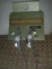 and silver leaf ( George) Silver colour earrings with beads