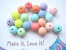 20 x OPAQUE PASTEL MATT BEADS 12MM Round ACRYLIC MIXED COLOURS ASSORTED