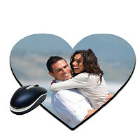 Heart Shaped Personalised Soft Touch Mouse Pad Mat Custom Gift Image Customised