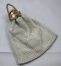 Whiting & Davis Purse Beggars Bag Purse Vintage Expandable Gold White Metal