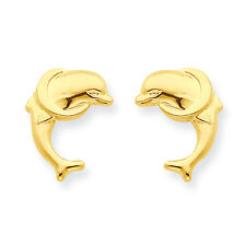 14K Yellow Gold Dolphin w/ Ring Stud Earrings Push Back Madi K Childrens Jewelry