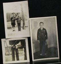 3 VINTAGE PHOTOS WWII STRANGE PICS, SPLIT PANTS BUTT CHILD BOY IN RAF GI'S GUNS