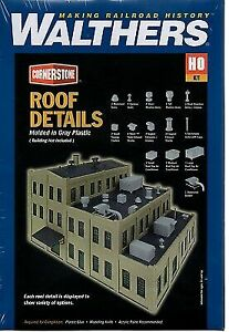 Walthers 933-3733 Ho Scale Roof Details (Gray Plastic)