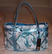 NWT Ed Hardy SUZANNE Tote Bag Blue Birds Tattoos