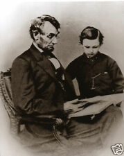 Abraham Lincoln and Son Tad Lincoln by Brady Lincoln Reading To Tad Famous Pose
