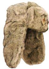 Militaires soviétiques USHANKA HAT Homme XL trappeur en fourrure crème cosaque russe avec insigne