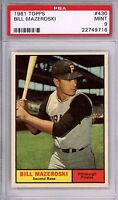 1961 Topps #430 Bill Mazeroski PSA 9 MINT *Rare* Pittsburgh Pirates