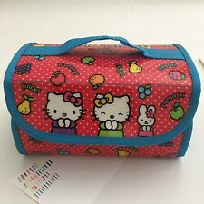 Hello Kitty Marker Set Vinyl Fold up Case 4 Zippered Pouches 39 Markers