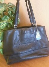 COACH HANDBAG TOTE #19391 BLACK LEATHER WITH LOGO FRONT TWO HANG TAGS GORGEOUS