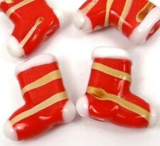 Lampwork Handmade Glass Red w/ gold line Christmas Boots Beads 18mm