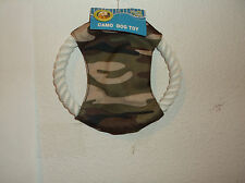 """BRAND NEW """"PAWS & CLAWS"""" DOG GREEN CAMO CANVAS FLYING 7"""" DISC w/ ROPE TOY.."""