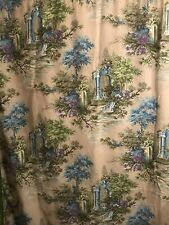 "60's Mid Century Mod Victorian Arc Print Rod Pocket Pair Cotton Curtains 44""x75"""