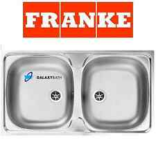FRANKE DOUBLE 2.0 BOWL STAINLESS STEEL SQUARE KITCHEN SINK INSET WITH WASTE