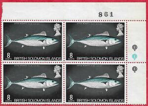 British Solomon Islands 1972 8c Fish Corner block of 4 Little Bonito MNH