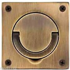 """Baldwin-0397.Sol 3-1/2"""" by 3-1/2"""" Solid Brass Flush Ring Pull for latches"""