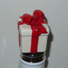 RARE Nora Fleming Mini Old Style/Retired White Present w Red Bow