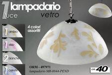 LAMPADARIO 1 LUCE 40 CM SOSPENSIONE VETRO CUCINA SALOTTO CLASSICO COL ORM 497971