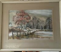 A Wonderful David Weston Water colour 'Snow in Warwickshire'