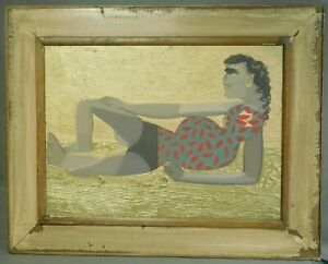 Vintage Modern Nude Reclining Nude Painting Cubist Maja Gold Ground D Devillier