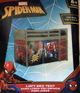 New Spider-Man Loft Bed Tent - Curtain Set for Low Twin Loft Bed Sold Separately