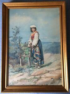 Superb BELISARIO GIOJA 19th C Italian Peasant Watercolor - Masterful, Detailed