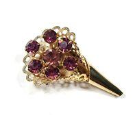 Vintage Purple Rhinestone Gold Tone Bouquet Pin Brooch Spray Unsigned