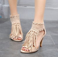 Women Tassel Open Toe High Heels Open Toe Zipper Fringe Roman Sandal Casual Shoe