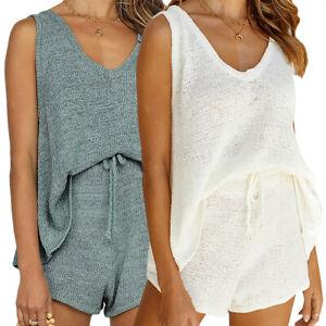 Womens Sleeveless Vest Tops Shorts Pyjamas Set Summer Casual Loose Loungewear