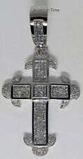 Large Cross 14k White Gold & 5.85 Carat 235 Diamonds