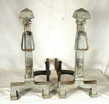 """PAIR OF ARTS & CRAFTS MISSION """"HOWES"""" ANDIRONS AND MATCHING TOOLS"""