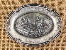 Vintage Antique Polyne Paris France Eiffel Tower Ash Tray Pewter Souvenir Plate