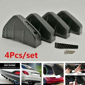 4x Car Rear Bumper Lip Diffuser Shark Fins Spoiler Accessorirs Carbon Fiber Auto