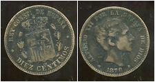 ESPAGNE 10 centimos 1878  ( jolie piece)