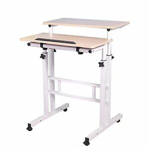 Mind Reader Multipurpose Home Office Computer Desk, Mobile Sit and Stand Desk, W
