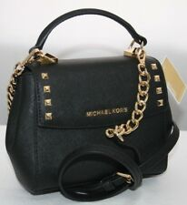 New Michael Kors Karla Mini Convertible Black Leather Cross Body Bag Purse