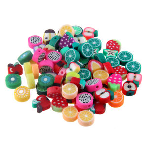 50pcs Fruit Printed Polymer Clay Spacer Loose Beads Fit DIY Bracelet Necklace