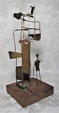 Antique 19th Century Primitive Folk Art Brass and Wood Windmill Toy
