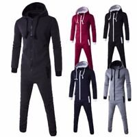 Mens WOMENS HOODED JUMPSUIT ZIP PLAYSUIT PLAIN ALL IN ONE PIECE ONE PIECE UNISEX