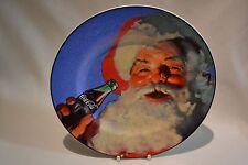 "NEW COCA COLA COKE SANTA CHRISTMAS BLUE STONEWARE 8 1/4"" PLATE"