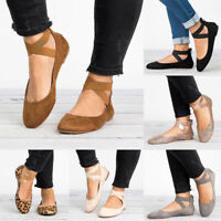 Women's Round Toe Cross Strap Flats Shoes Casual Soft Zip Ballet Shoes Plus Size