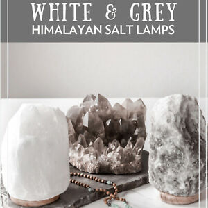 Rare White & Grey Himalayan Salt Lamp Rock Salt Crystal Natural Healing Ionizing