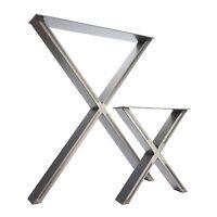 2 x Steel Table / Desk / Bench Pedestal Legs  - The 'X Marks The Spot' Design