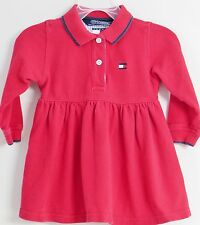 TOMMY HILFIGER Size 12-18 Months Red Long Sleeves Collared Dress