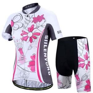 Ladies Cycling Jersey Set Trousers short Sleeve Seat Cushion Racer Bike